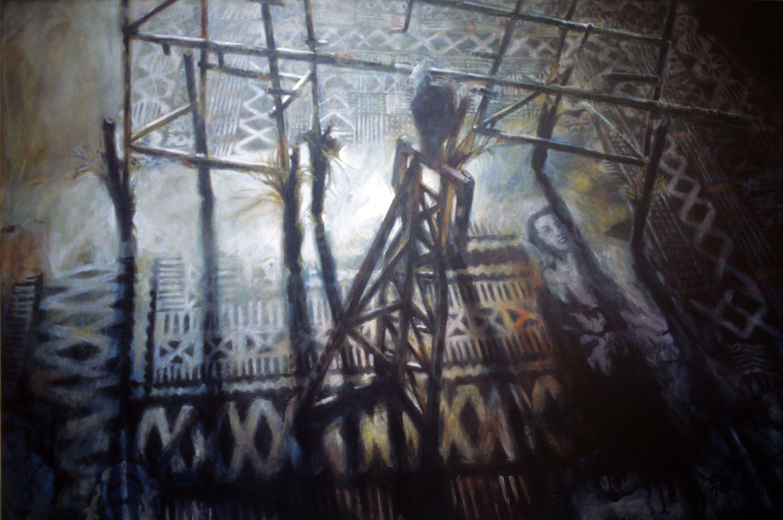 """The Pattern"" 1996, Acrylic on Linen. 111 x 167cm"