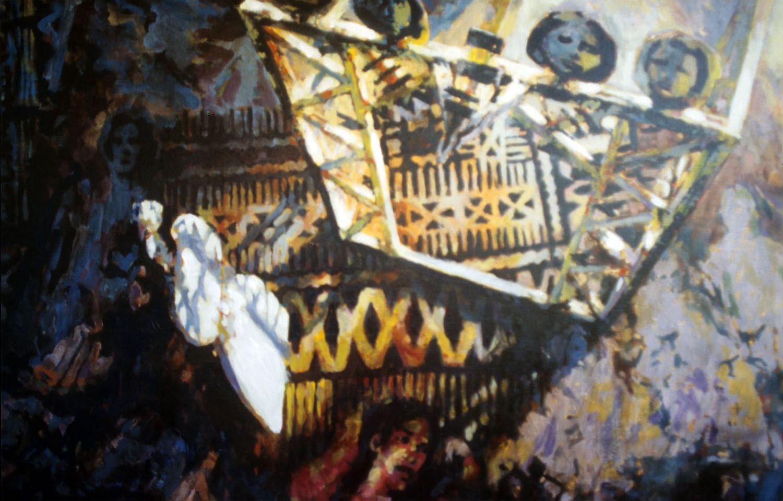 """Totem"" 1995. Acrylic on linen. 80 x 122cm"