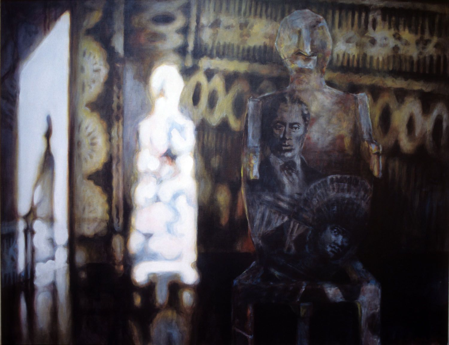 """""""Tui and the Enigma"""" 1996. Acrylic on linen. 106 x 137cm"""