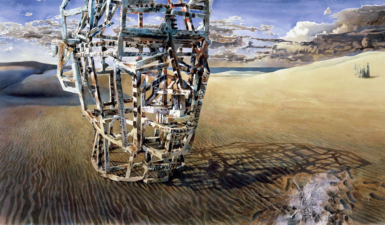 """Blood"" 1997. Watercolour on Arches 300gms paper. 98 x 176cm"