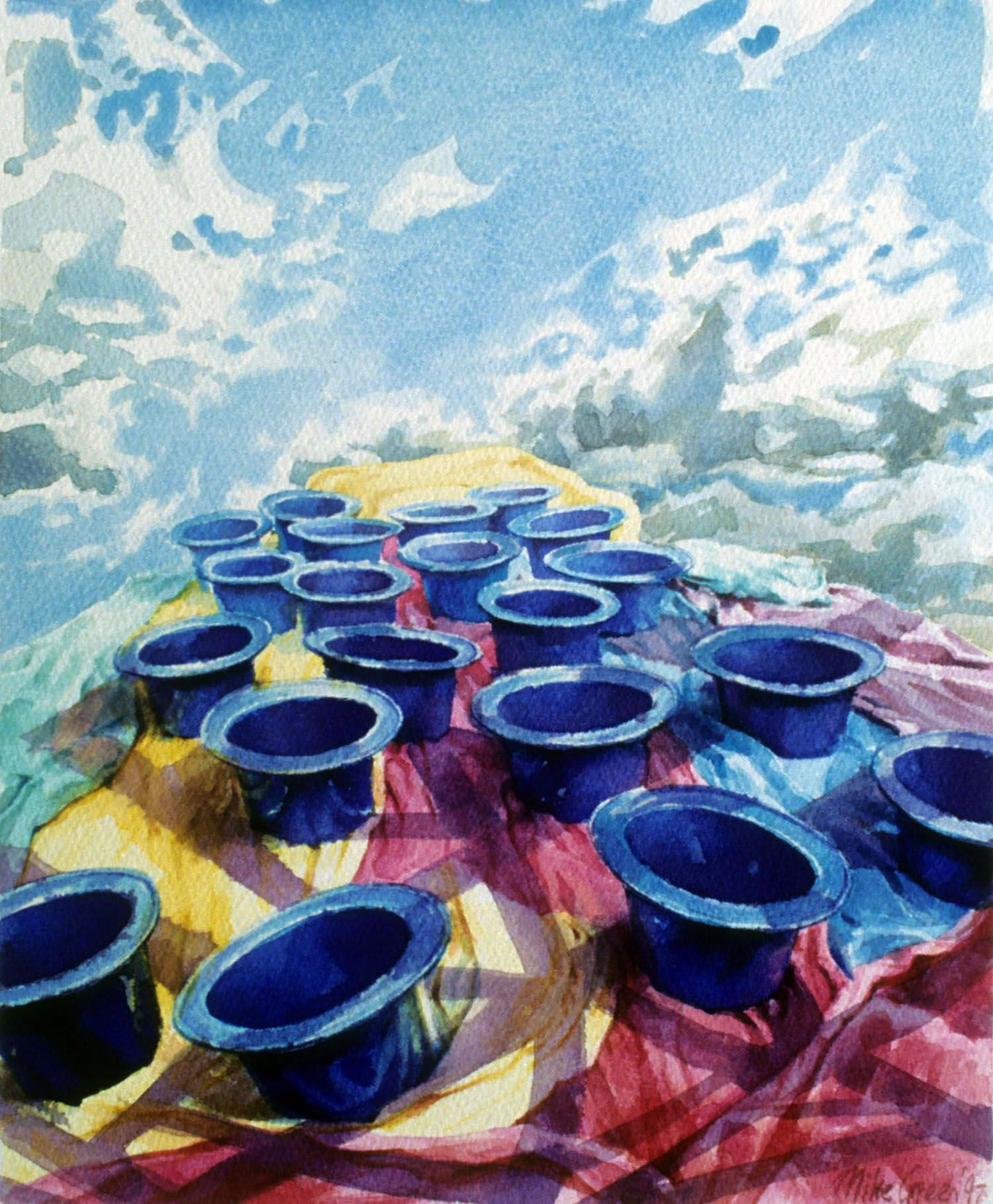 """""""Blue plastic hats from the sky"""" 1997. Watercolour on 300gms. Arches paper. 33.5 x 27cm"""