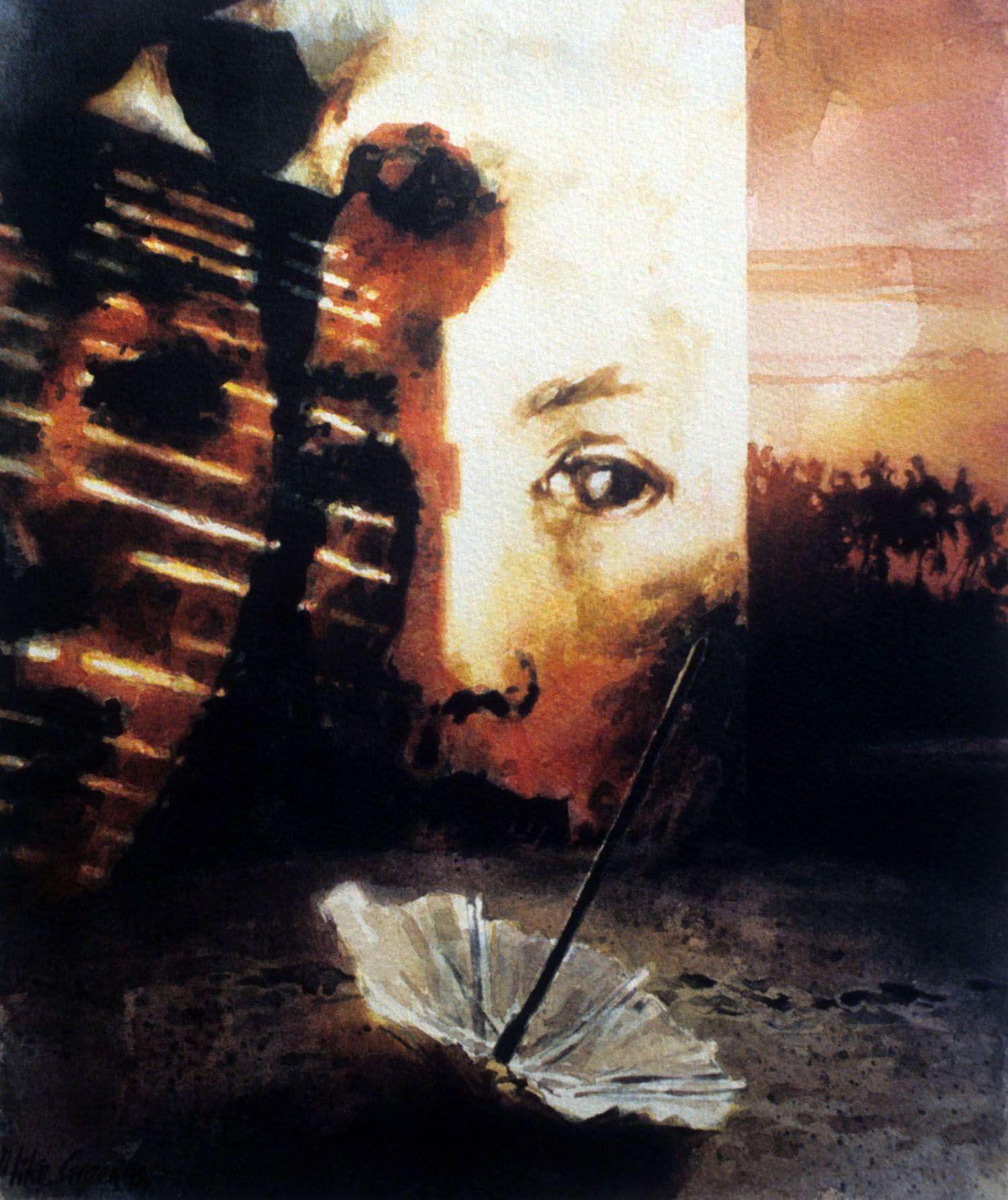 """""""Crusoe's umbrella"""" 1997. watercolour on 300gms Arches paper. 33 x 27.5cm"""