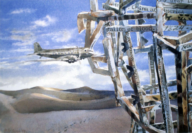 """""""DC3""""1997. watercolour on 300gms Arches paper. 28.5 x 42cm"""