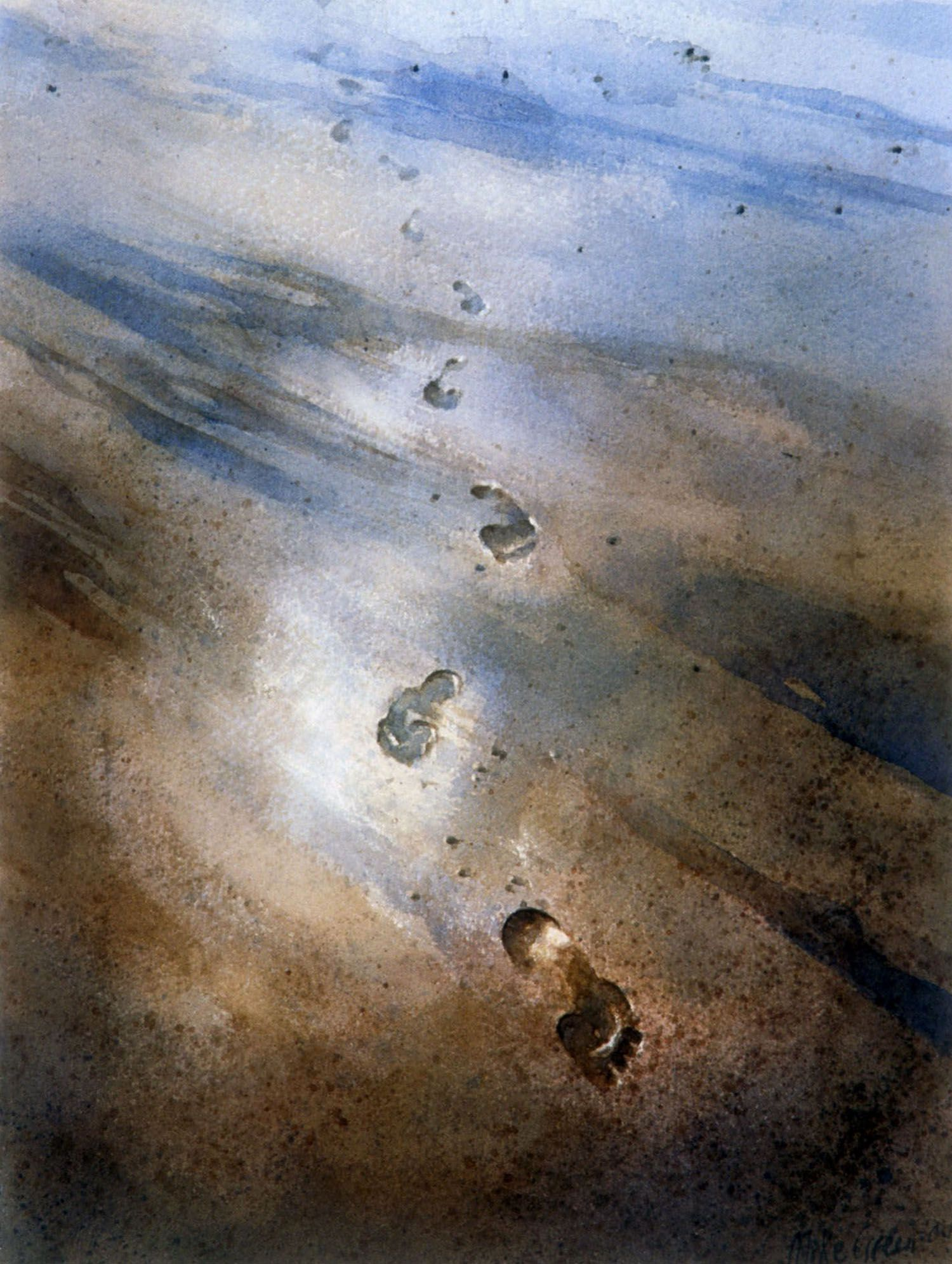 """""""Footprints"""" 1997. watercolour on 300gms arches paper."""