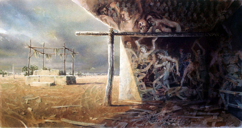 """Megalith"" 1997. watercolour on 300gms. arches paper. 46 x 88cm"