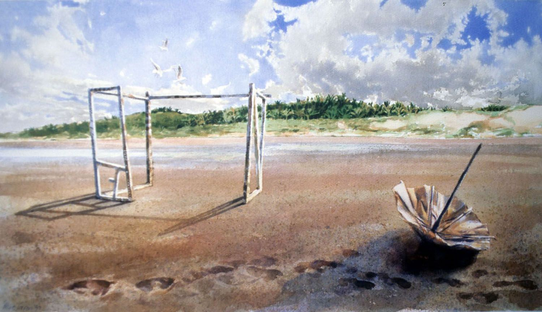 """Terra Incognita"" 1997. watercolour on 300gms. Arches paper. 28.5 x 69cm"