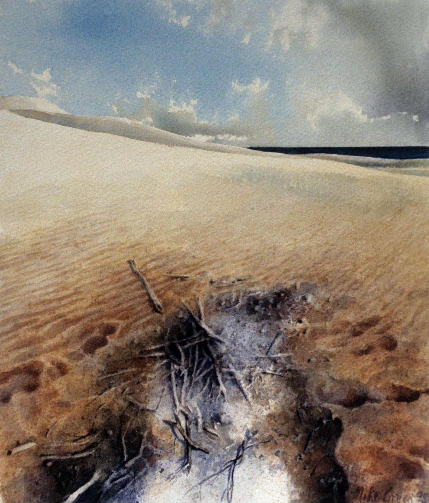 """""""Terra Nulius"""" (Fire) 1997. watercolour on 300gms. Arches paper. 33 x 28cm"""