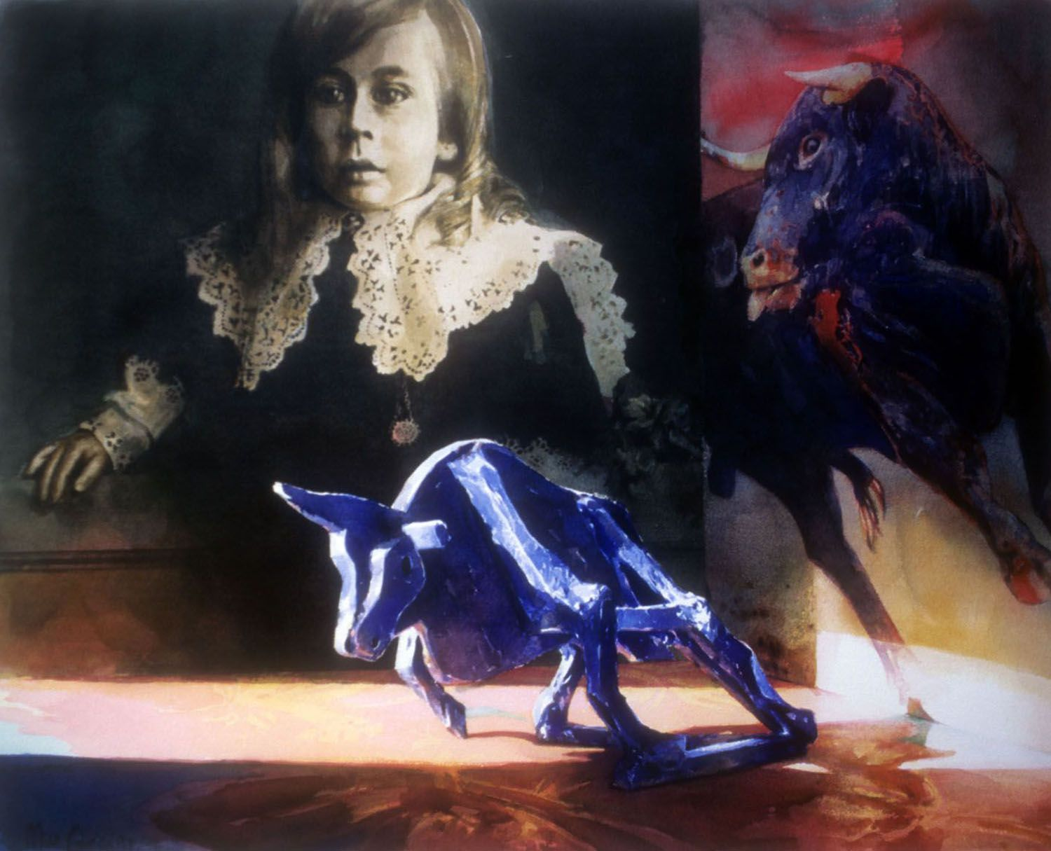 """""""The Chimera #1"""" (Bull & young boy) 1997. Watercolour on 300gms Arches paper. 59 x 74cm"""