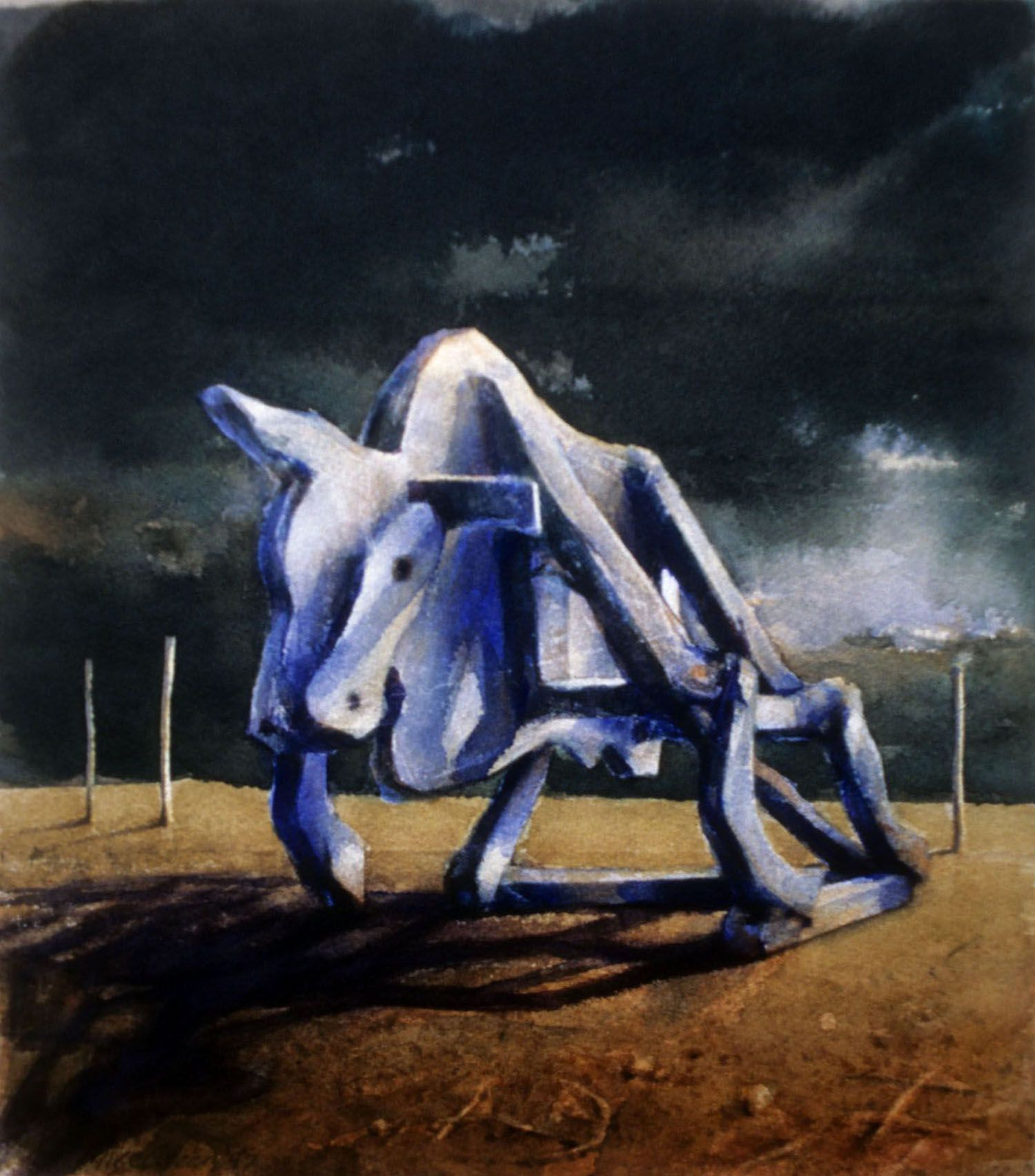 """""""The Chimera #2"""" (Bull with dark sky) 1997. Watercolour on 300gms Arches paper. 33.5 x 28.5cm"""