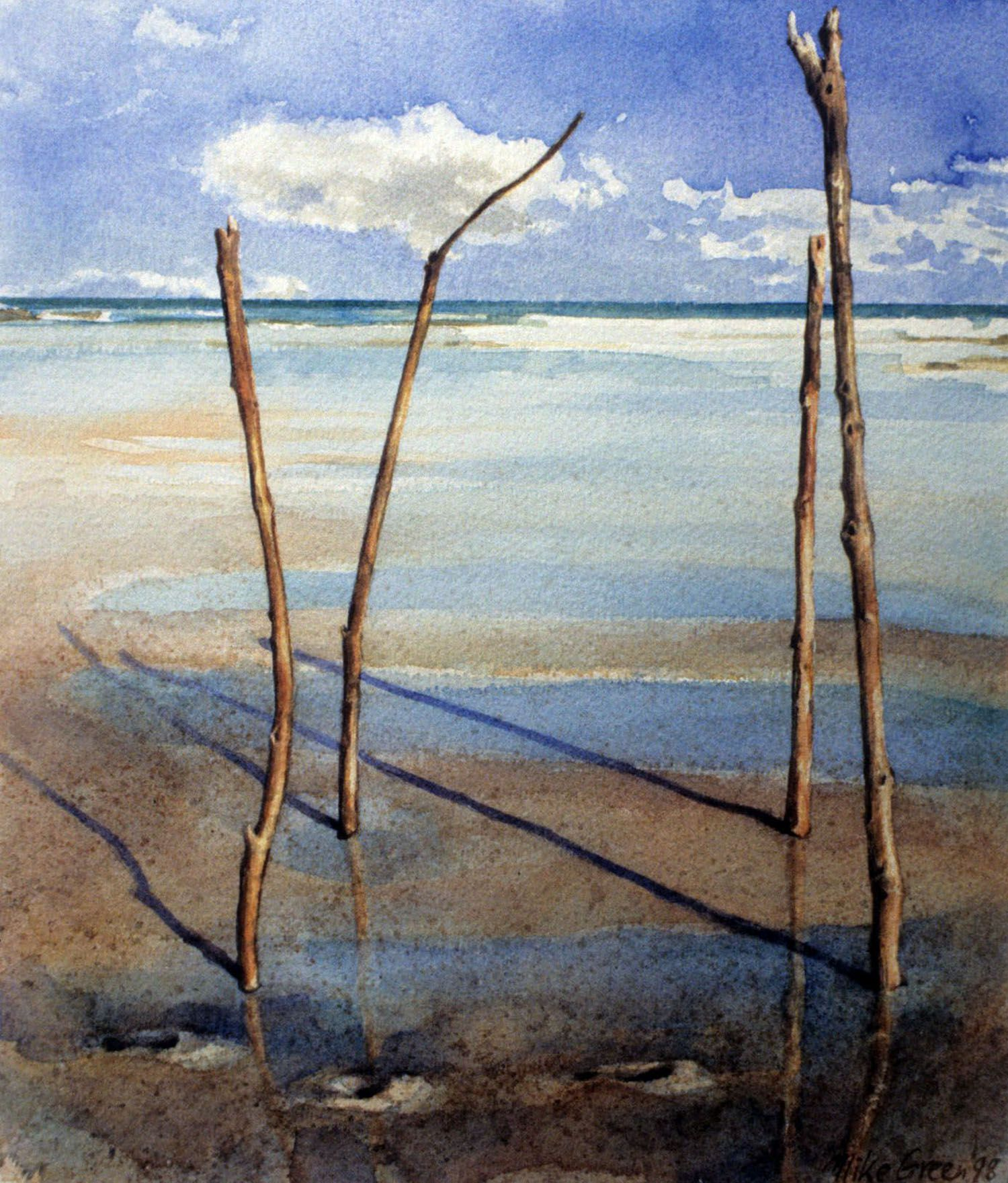 """""""The Claim"""" ( sticks with ocean view) 1997. Watercolour on 300gms Arches paper.33 x 27cm"""