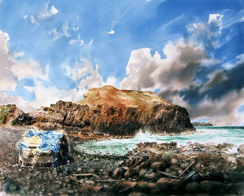 """""""Hut"""" 2002. Watercolour on 300gms Arches paper. 79 x 99cm"""