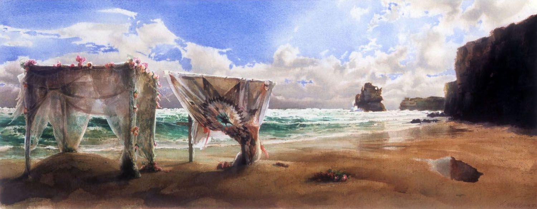 """""""Romance"""" 2002. Watercolour on 300gms Arches paper. 38 x 98cm"""