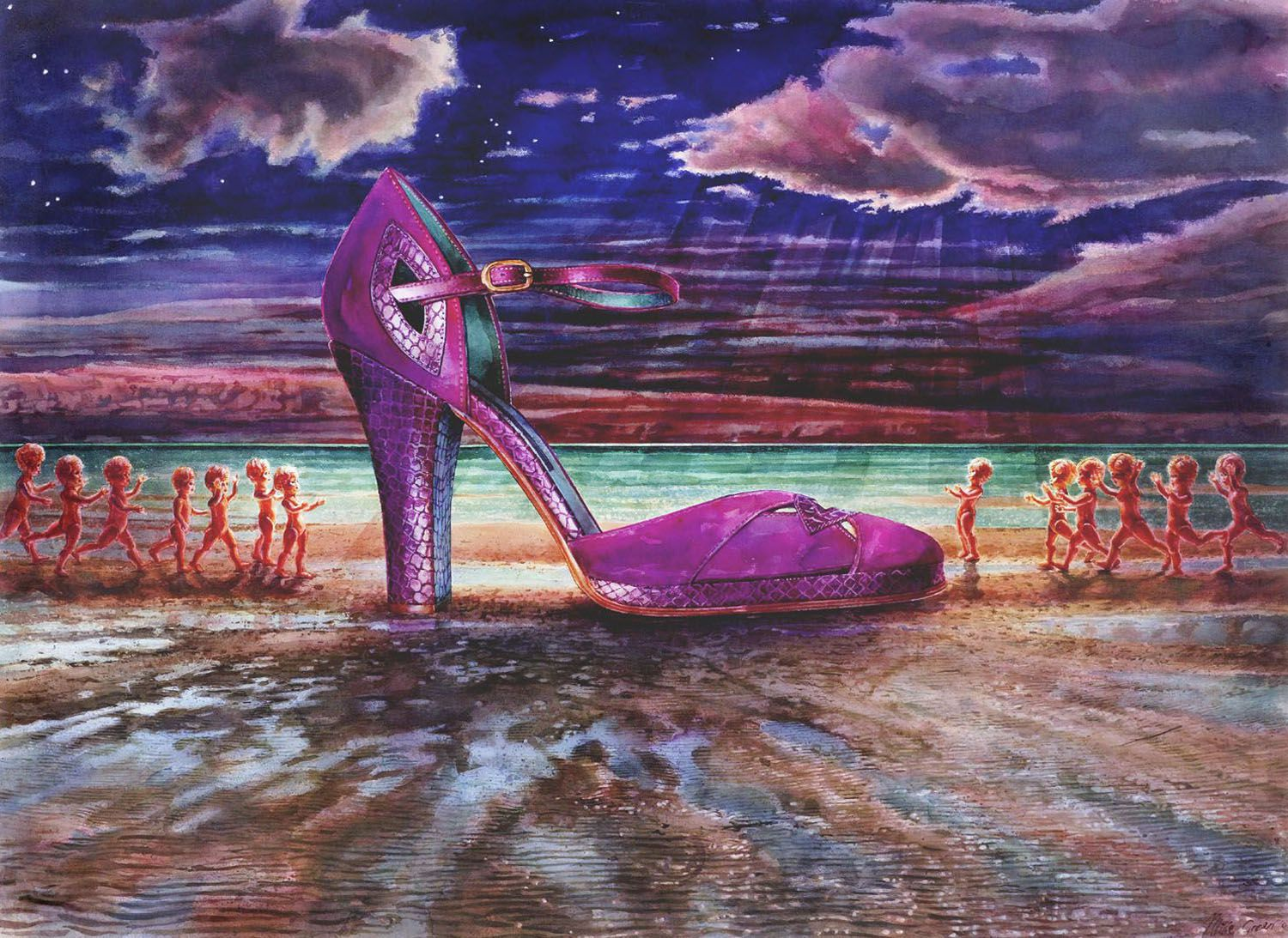 """Midnight Shoe"" 2006. Watercolour on  300gms Arches paper. 98 x 133cm"