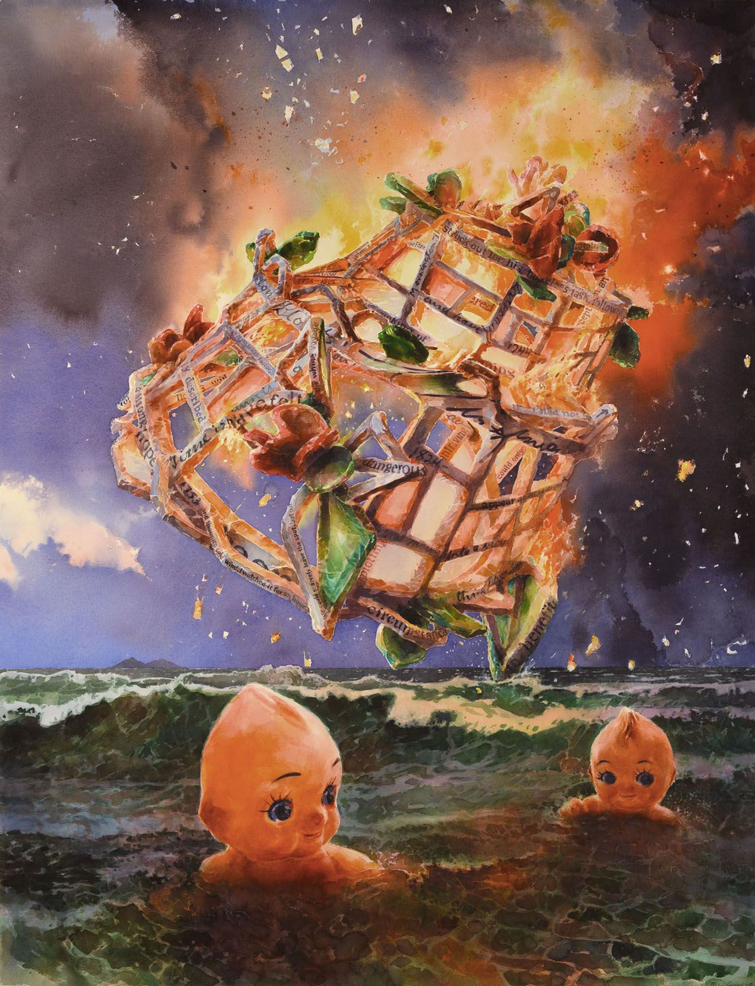 """""""Midnight Swim"""" (The burning of Virginia's Cake"""" 2012. watercolour on 300gms Arches paper. 170 x 128 cm"""