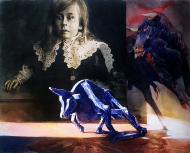 """Bull"" as watercolour, Lyall Burton Gallery,1995."
