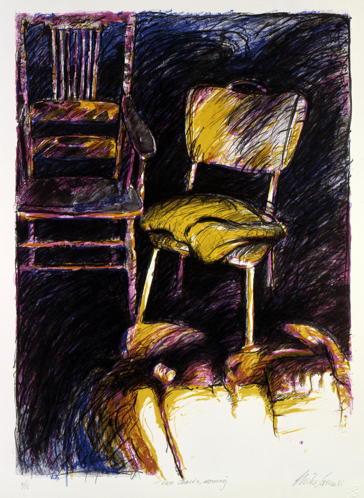 """Two chairs, morning"""