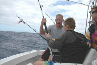 Kid's offshore fishing in Hawaii