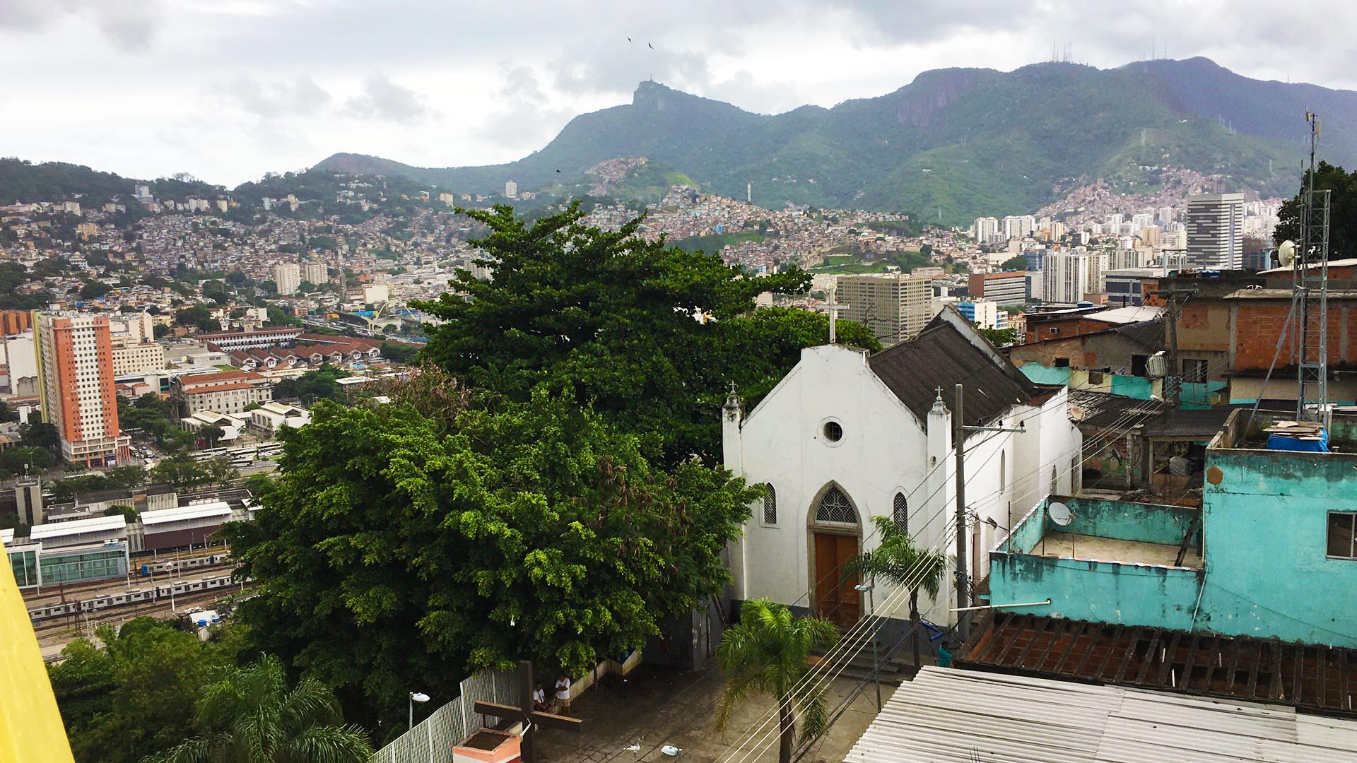 """The view from """" Casa Amarela"""" in the favela Providencia, one of the oldest favelas in Rio De Janeiro. The house is a community centre built by french artist JR in 2009."""