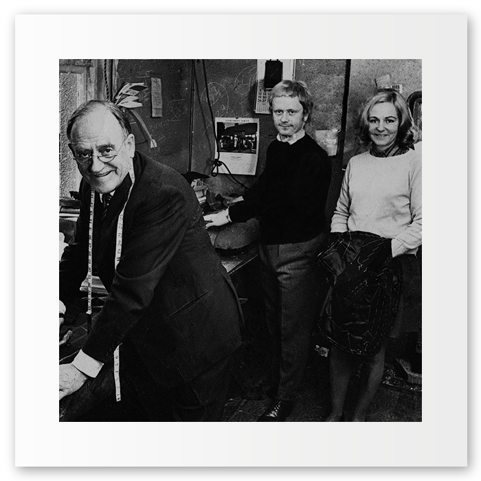 My Grandfather, John (left)holding court in our previous premises on Unicorn Hill, Redditch, Worc. Stood beside him is Peter (my Dad) & Jean (my auntie). 1970, a press shot covering our entering the Gold Shears Competition.