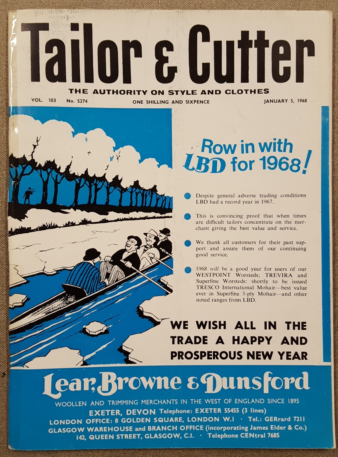 The January 5, 1968 Copy featuring an advert from Lear, Browne & Dunsford. Now Part of the Harrisons of Edinburgh group.