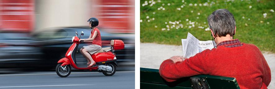 Zwei strassenszenen: Während das linke Bild Dynamik erzeugt, strahlt das rechte Bild Ruhe aus.