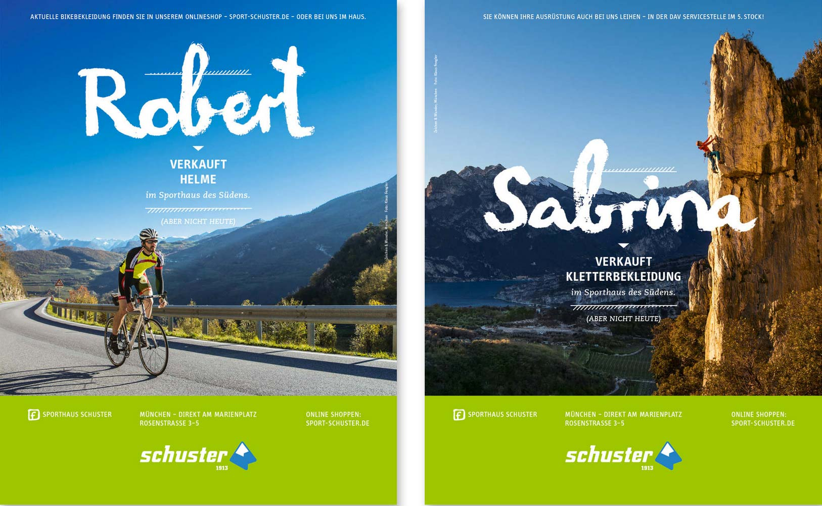 Die Kampagne von Sport Schuster stellt ihre sportlichen Mitarbeiter in den Mittelpunkt und vermittelt damit glaubwürdigkeit. Quelle: Agentur Zeichen und Wunder, München