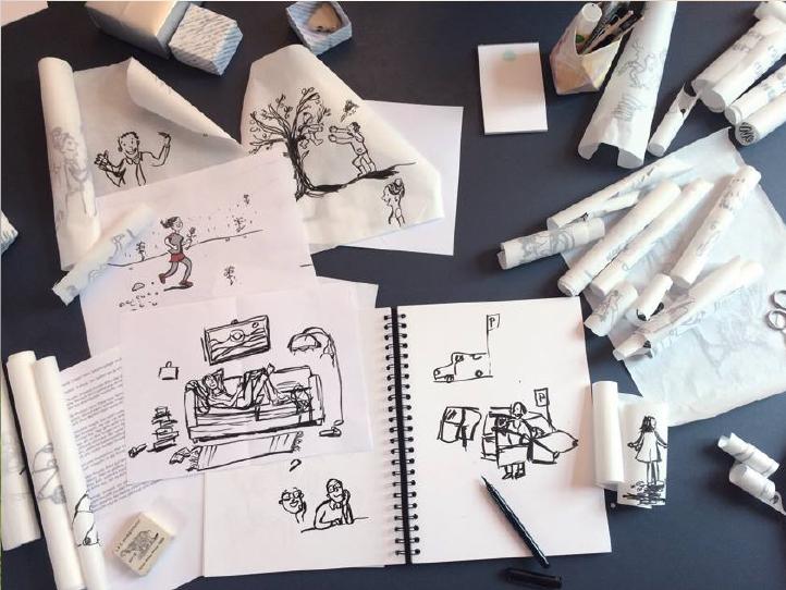 Making of: Für das Sonderheft der daz, der Deutschen Angstzeitschrift, kamen die Zeichnungen der Münchner Illustratorin  Sabine Lemke  zum Einsatz.  Foto: Sabine Lemke