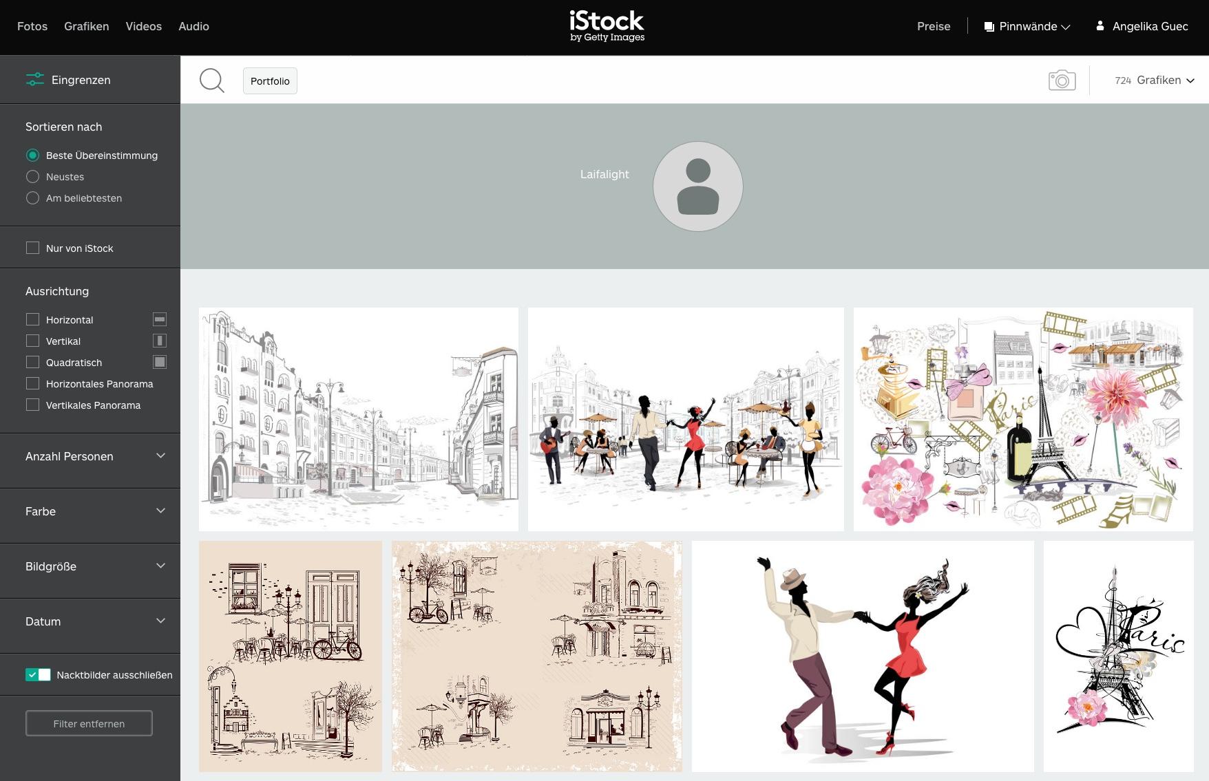Mit klick auf den Urheber wird das gesamte portfolio des künstlers angezeigt. Das ergebnis: einheitliche zeichnungen im gleichen look. Quelle: https://www.istockphoto.com/de