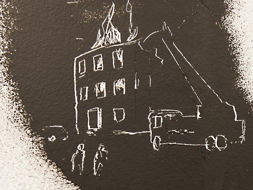 Einfarbige Illustration als Strichzeichnung - Fundstück in einer Ausstellung