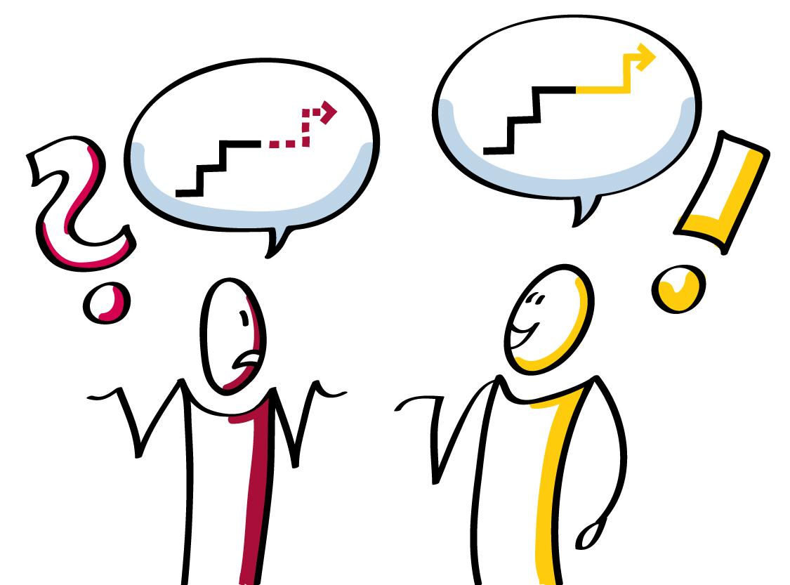 Strichzeichnung zum Thema Kommunikation - aufs Westentliche reduziert Quelle:  corponet