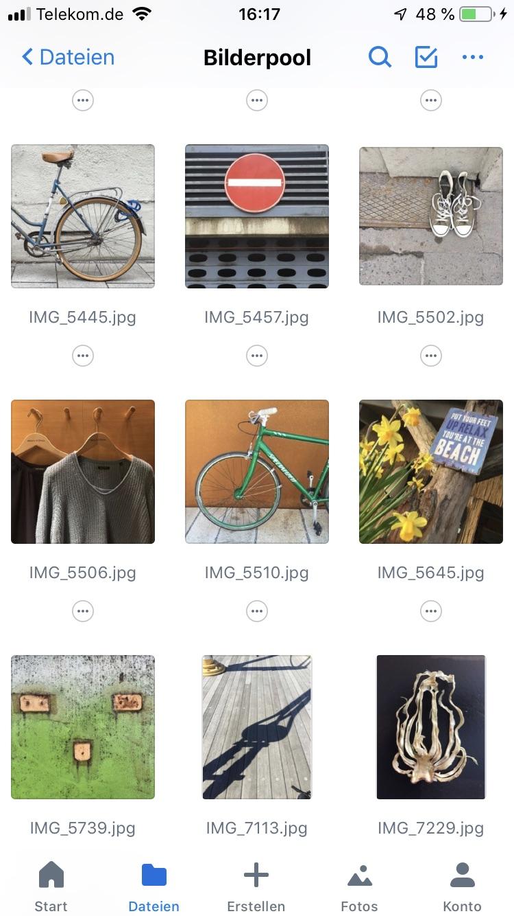 Mein Bilderpool - auf dem Smartphone immer dabei und ich kann die Fotos gleich mit der App bearbeiten und posten.