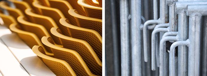 Metalle können ebenso eine warme Lichtstimmung hervorrufen. Im linken Bild gelingt das durch das sommerliche, ansprechende Currygelb, Schatten, Unschärfe und die Wellen. Ganz im Gegensatz zur rechten Aufnahme, wo durch die bläuliche Farbtönung ehr Kühle vorherrscht, das Material rauh ist und damit ehr technisch, sachlich wirkt.