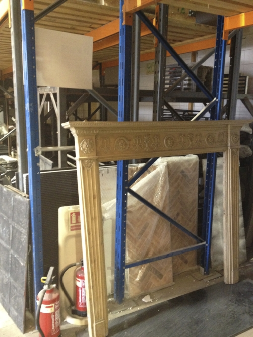 8. Off to an antique fireplace warehouse to find the perfect surround. Early C19 pine and gesso, English