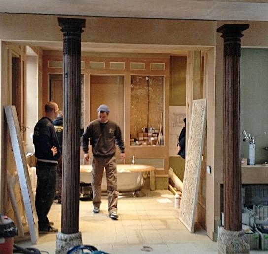 17. Cabinets hidden behind mirrored panels