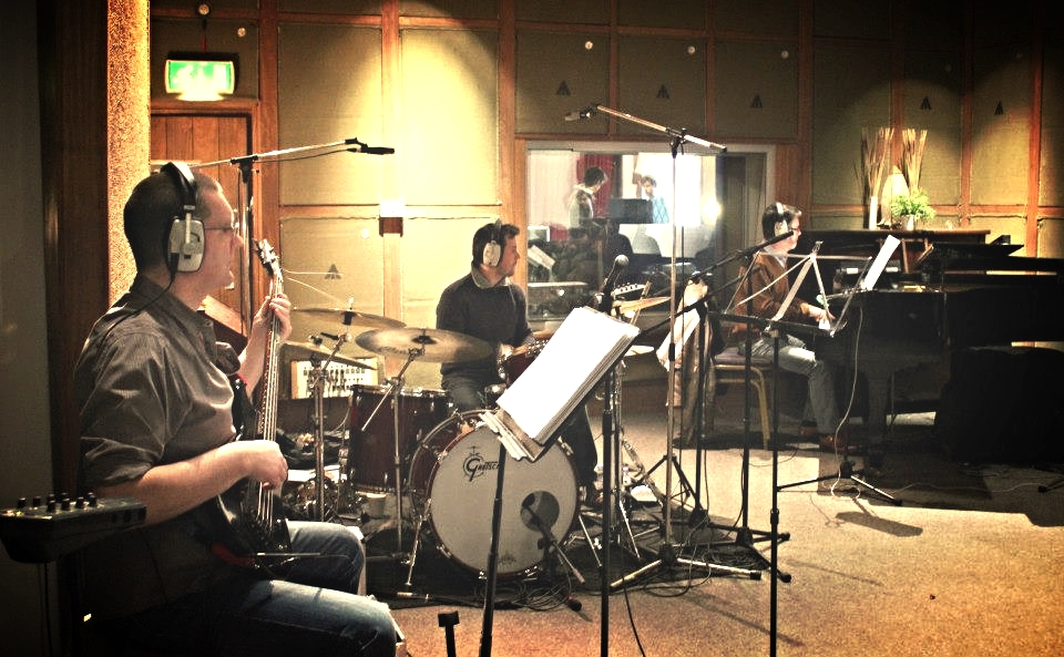 The rhythm section tracking at Monnow Valley, with Dave Newton on piano and Al Swainger on bass