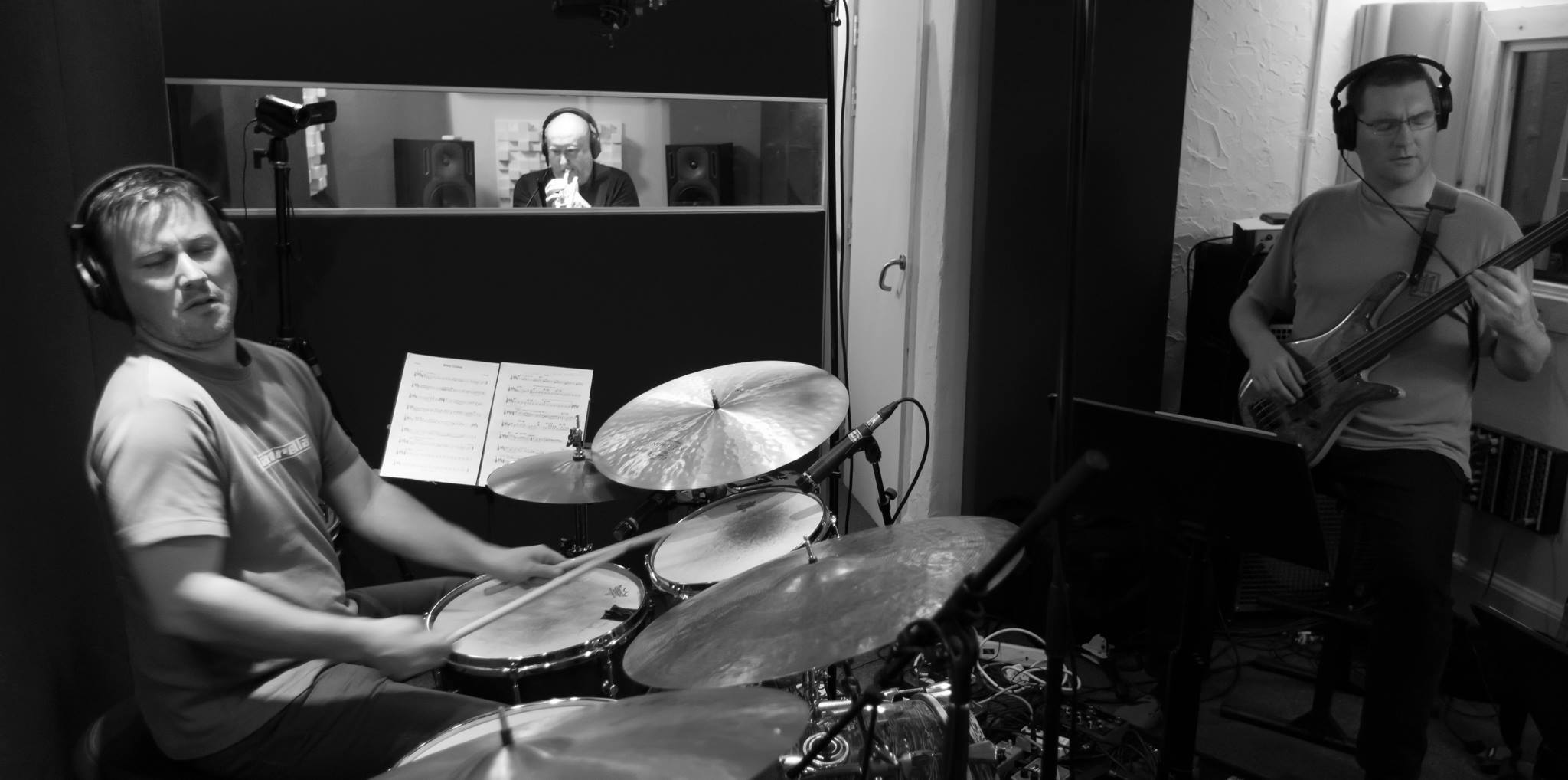 Recording bassist Al Swainger's new album, with Mike Outram - Guitar, Neil Yates - Trumpet and George Cooper - Keys (photo: Guy Harris)
