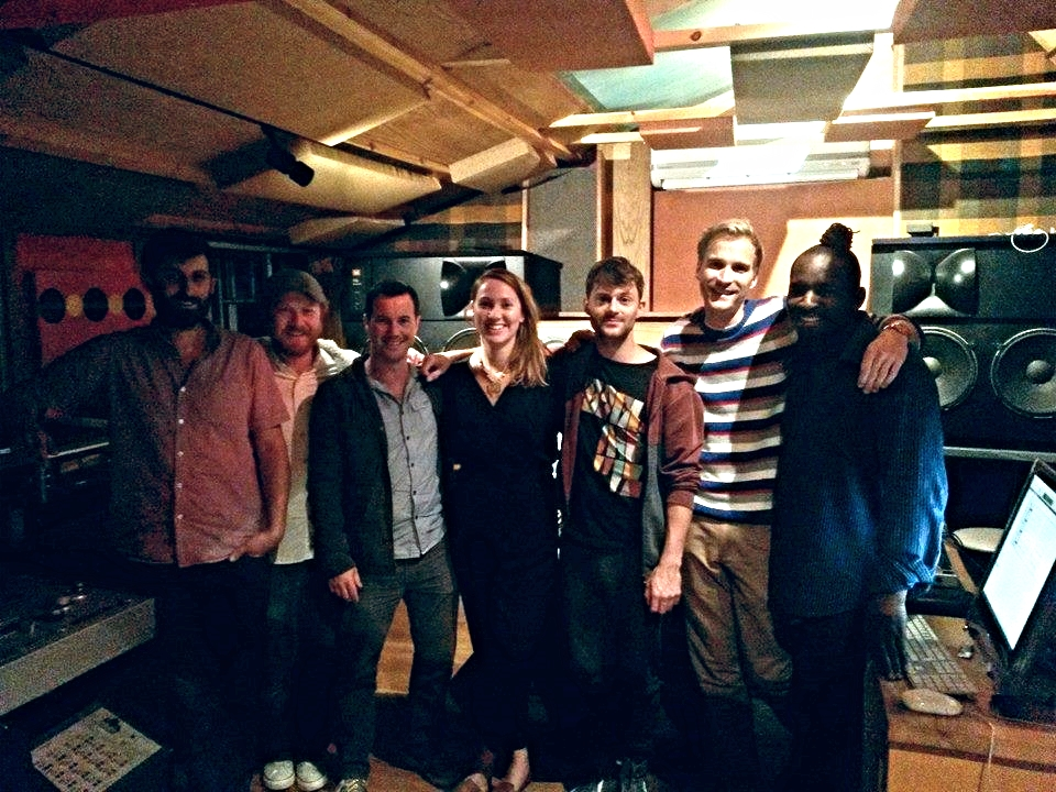 In the control room at Fish Factory recording the new Moonlight Saving Time album with Jason Yarde and producer Ben Lamdin (Gregory Porter, Laura Mvula, Jamie Cullum), 2014