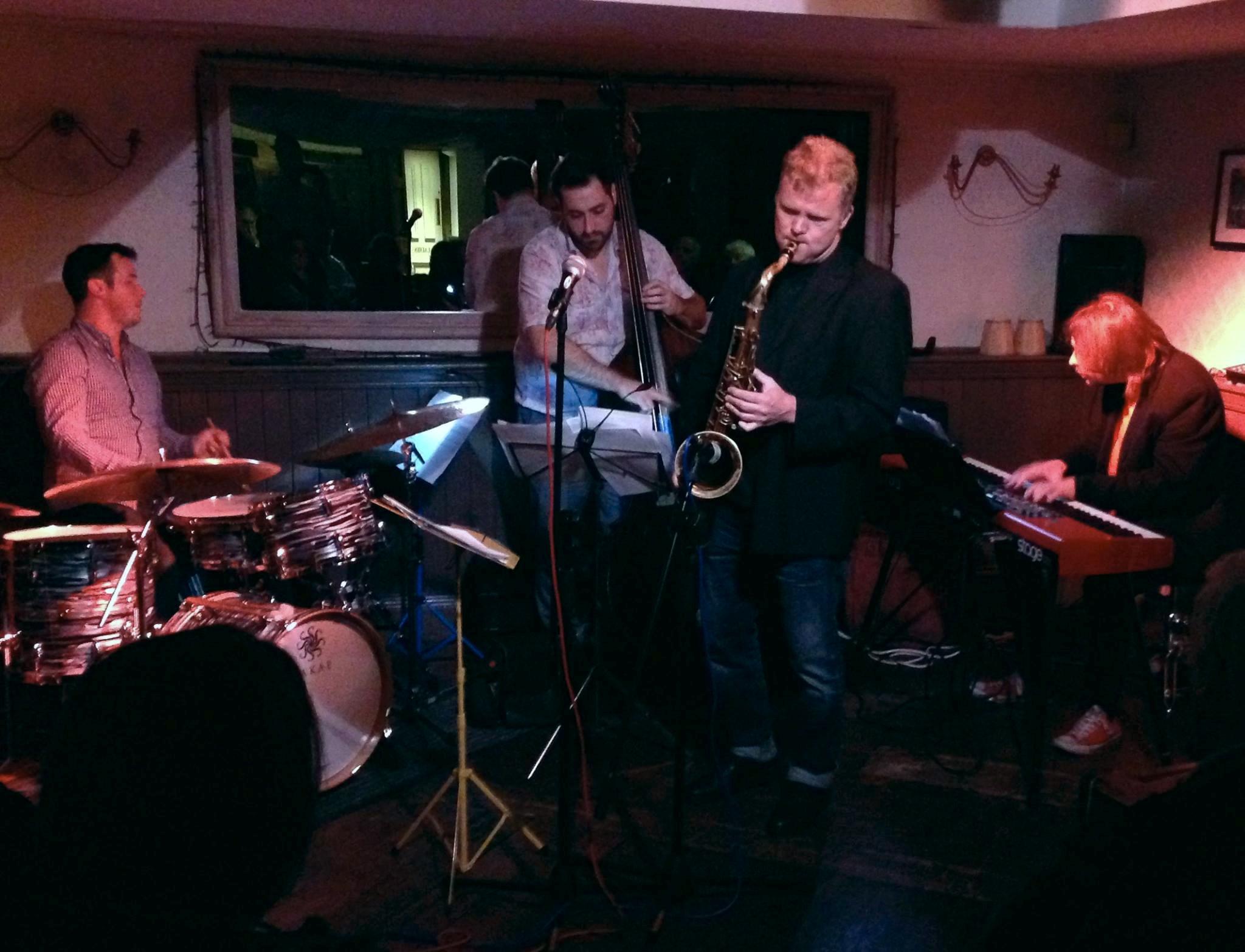 Iain Ballamy killing it, with Percy Pursglove (bass) and Jim Blomfield (Piano)