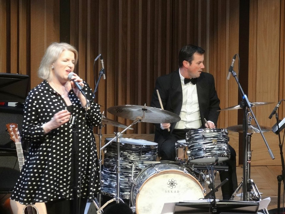 Clare Teal and a dapper drummer - big band gig,  2016