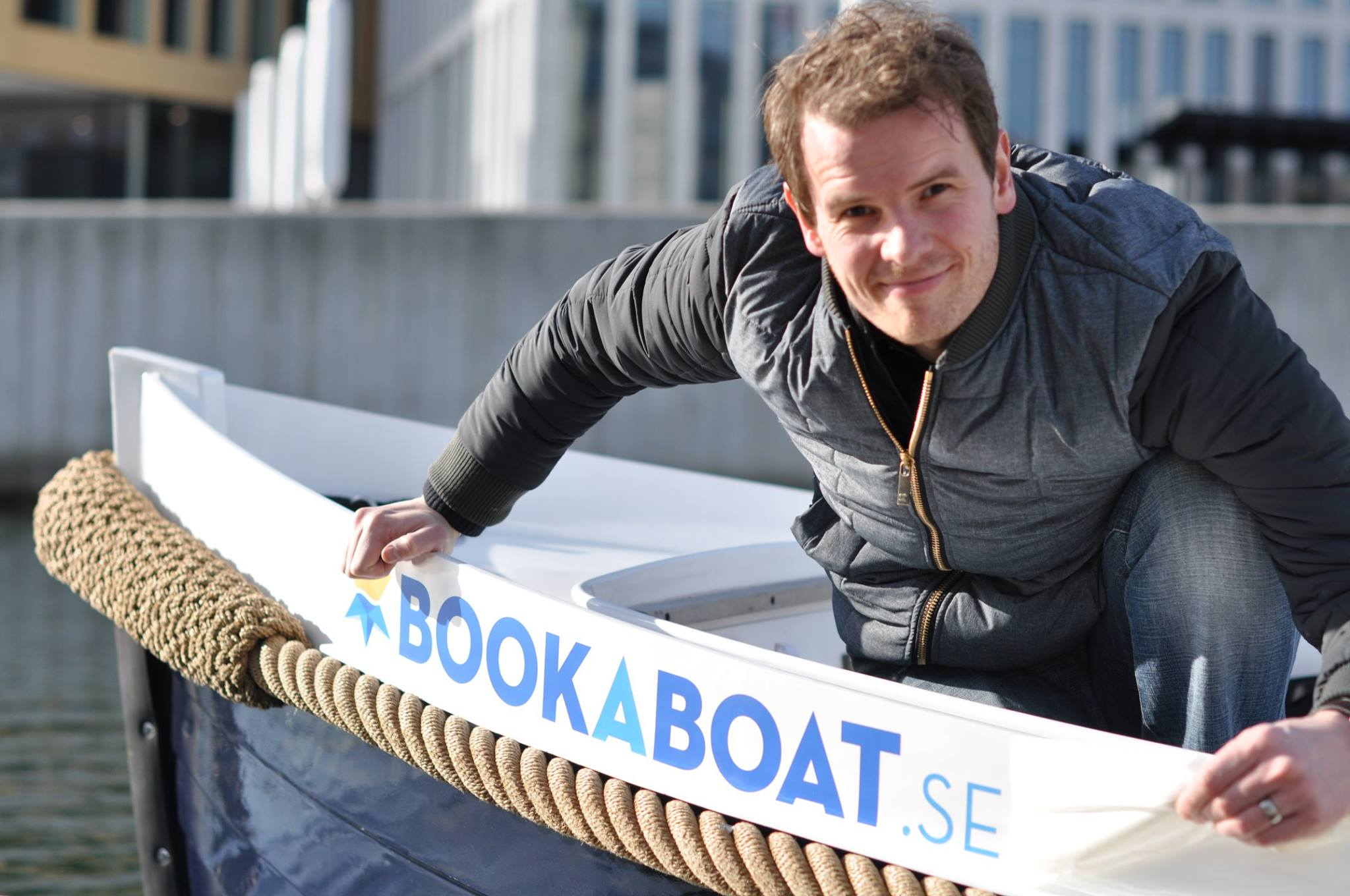 Placing the branding on the boat