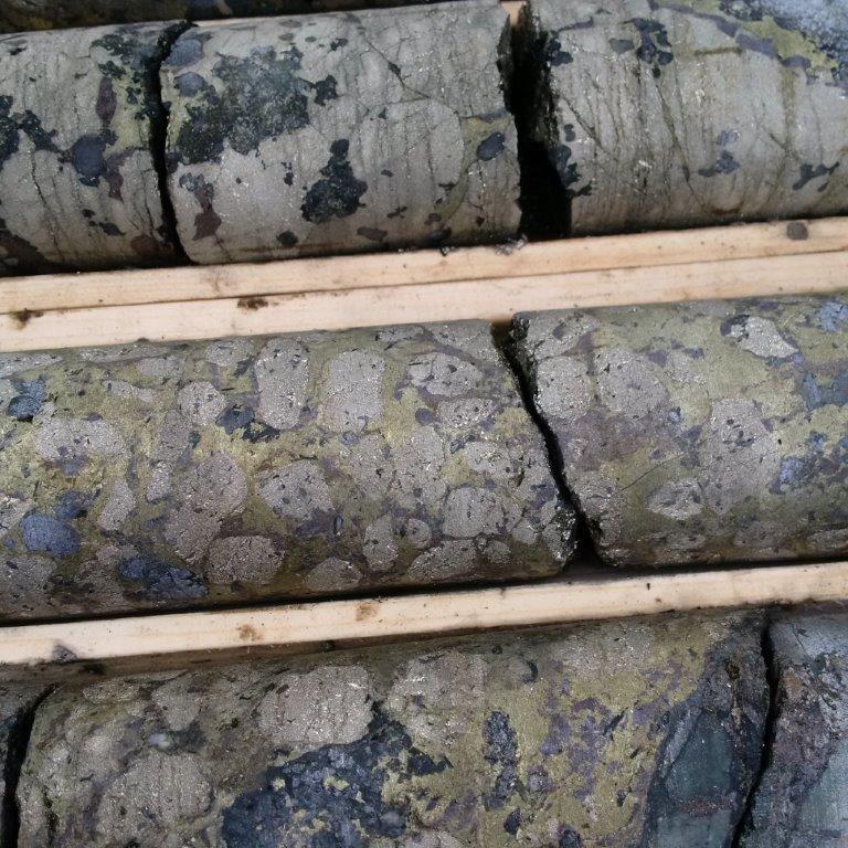 Talbot Deposit High Grade Drill Hole TB-001: 6.1% copper, 8.2g/t gold, 5% zinc, 112.1g/t silver across 9.13m