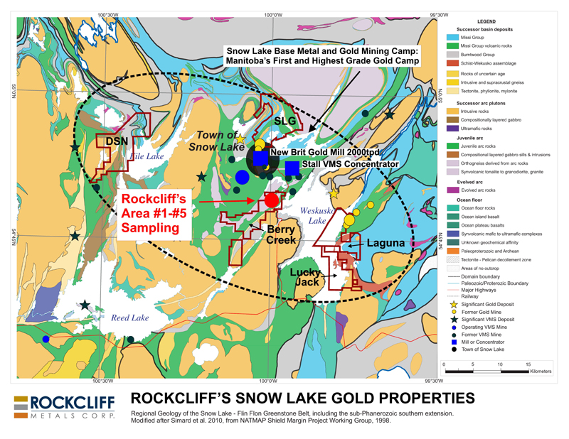 Figure 1 - Rockcliff's 5 district sized gold properties in the Snow Lake area, including the location of the 60 surface grab samples. (To view the graphic in its original size, please click  here )