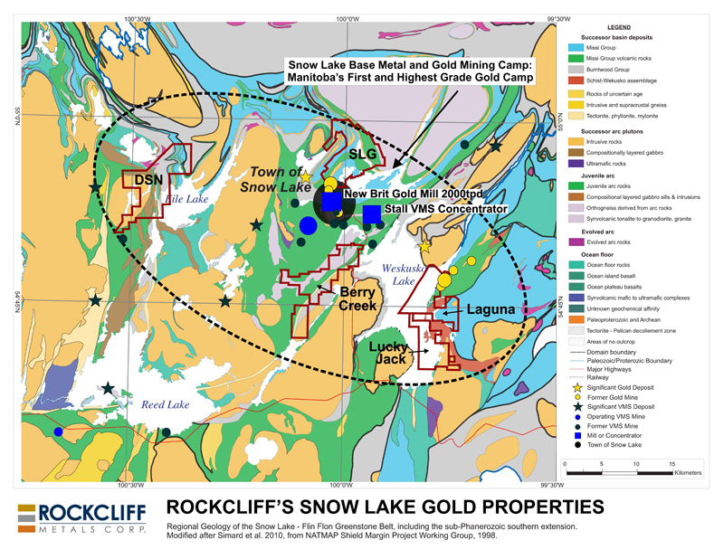 Figure 1 - Rockcliff's 5 district sized gold properties in the Snow Lake area, including Laguna and Lucky Jack. (To view the graphic in its original size, please click    here   )