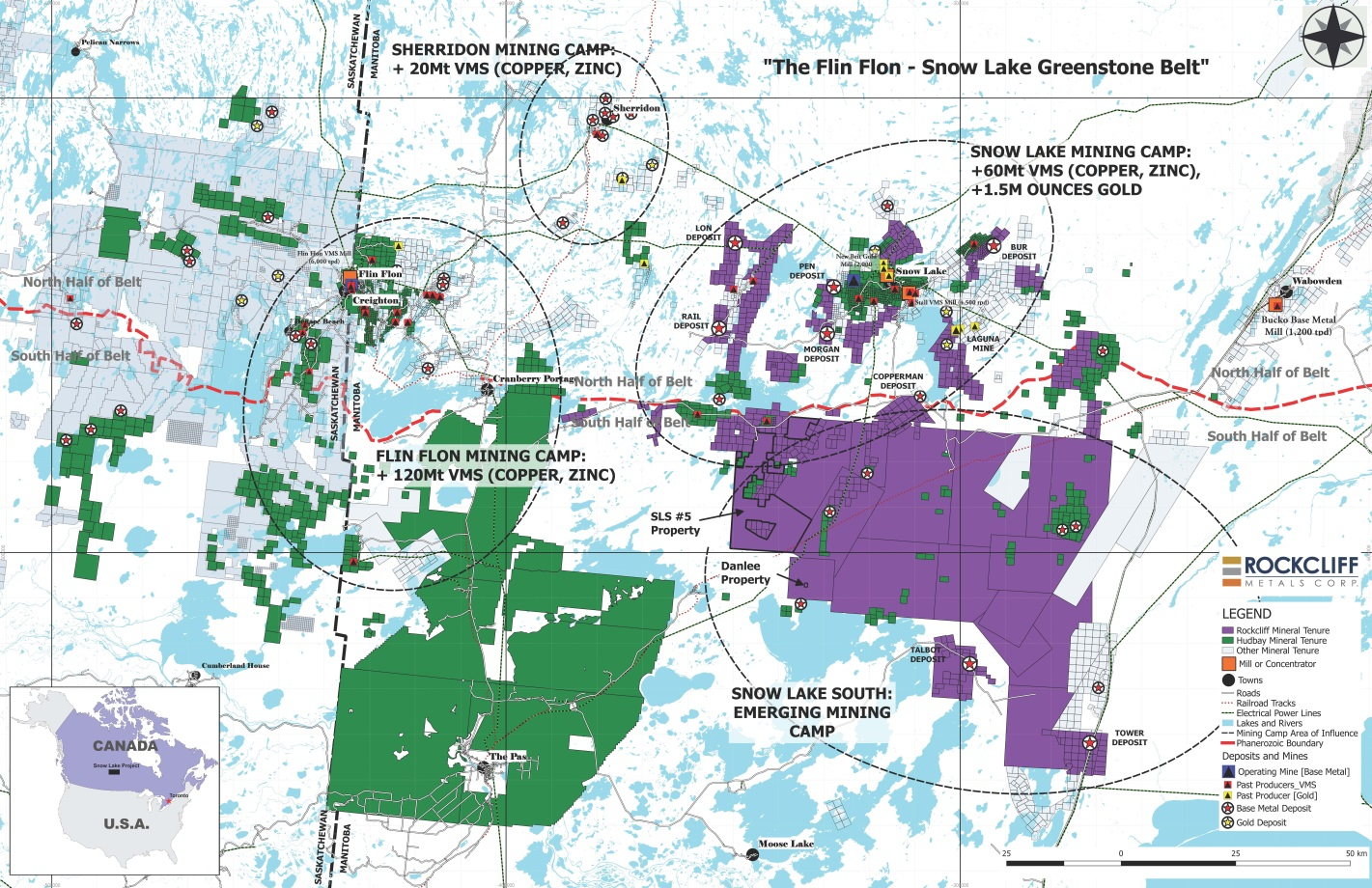 Figure 1: Rockcliff's Complete Property Portfolio (in purple) Including the Newly Acquired SLS #5 Property and the Danlee Copper Property which is surrounded by the SLS #1 Property