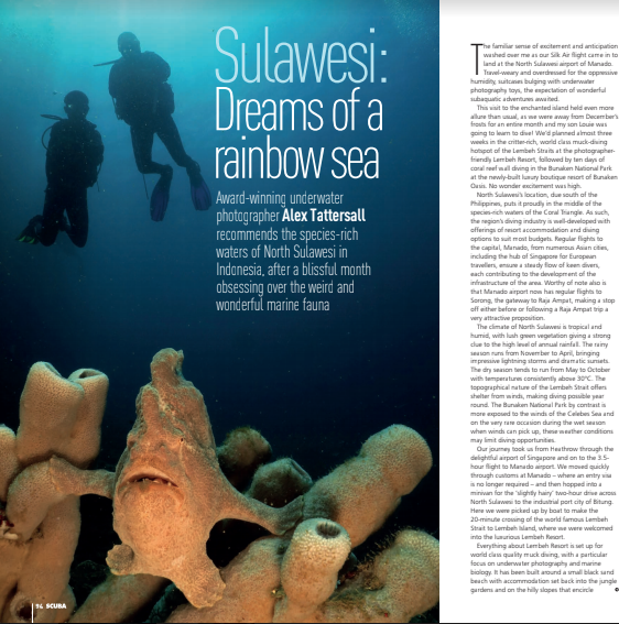 """""""A dream realised. Wow, just ... wow"""" Article written by Alex Tattersall Courtesy of SCUBA magazine"""