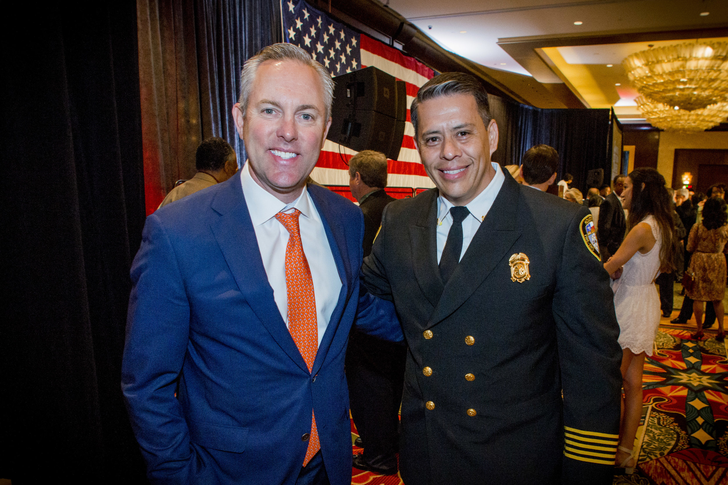 - Reid Ryan, President of Houston Astros with Cpt. Samuel Pena of Houston Fire Dept. at Prayer Breakfast 2018