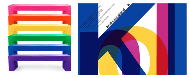 Left: Benches designed by Massimo for Heller, Right: The Knoll International poster