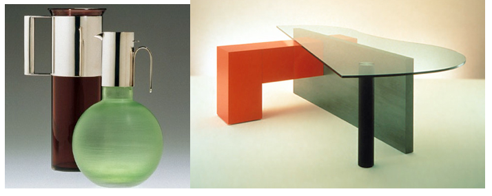 Left: Pitchers designed by Lella and Massimo for Venini, Right: Table
