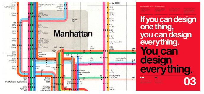 Left: The NY Subway map, Right: Poster designed by Massimo