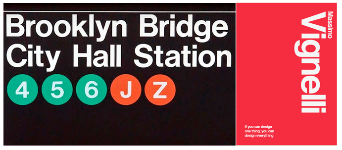 Left: Signage for the NY Subway, Right: His own poster